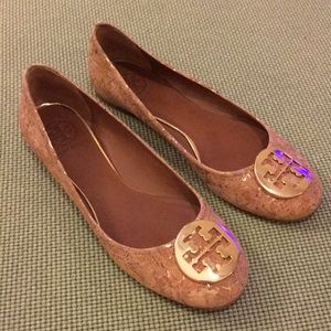 Tory Burch cork over gold Reva flats Sz 8